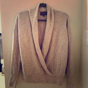 Michael Stars Wool Oatmeal V-Neck Wrap Sweater